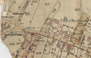 High Street west end. Bridge Lane is possibly Nottingham Road today. 1884 O.S. Map