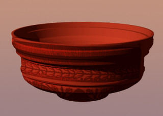 Fig 14. Computer reconstruction of find 358.South Gaulish Samian bowl form Dragendorff 29, c 50-85AD, found by Martin Clarke.