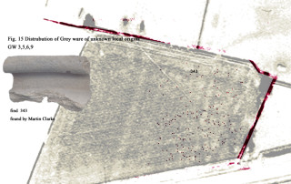 Fig 15. Distribution Map - Fabric GW3, 5, 6, 9 A gradation from fine to very coarse for fabrics of unknown source