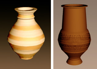 Fig 18. Computer reconstructions of a Lower Nene Valley flask c.3-4th century found at Bottesford Bypass II and Fig 19. c.4th century Beaker, find 211, by Matthew Bradwell