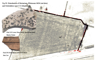 Fig 20. Distribution Map for Mortaria, White ware, Oxfordshire ware