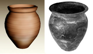 Fig 23. Computer reconstruction of Derbyshire Ware jar, Find 187, c.3rd Century, found by Roy Perkins. Fig 24. A restored Dalesware jar from 3rd century levels in Doncaster (after Loughlin)