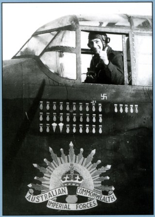 Back cover: Sgt I.G. Boulton, flight engineer on F/O Doug Harvey RAAF's crew, 467 Squadron RAAF, gives the thumbs up, Bottesford late 1943