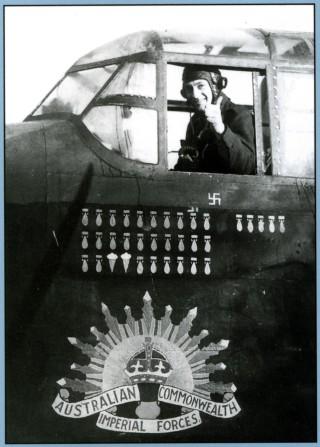 Back cover: Sgt I.G. Boulton, flight engineer on F/O Doug Harvey RAAF's crew, 467 Squadron RAAF, gives the thumbs up, Bottesford late 1943
