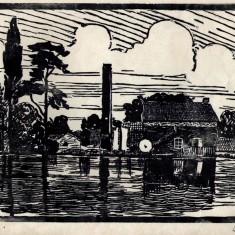 Lino cut of Easthorpe Mill
