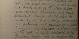 School Inspector's commendation of Mr Stimpson's artwork with Bottesford School Senior Classes in 1934