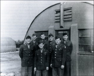 Hut companions of the Headquarters, 50th Troop Carrier Wing, Bottesford 1944. Left to right: Wally Weinkam, Raymond Seaton, Eugene Norstein, Walt F. Pettit, Clayton Hesser, Frank Ehrman and Julius Meister