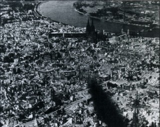 A blackened scene of utter devastation - Cologne from the air, 1945. Photo taken from a 1668 Lancaster on a 'Cook's Tour' of Germany in the first days of the peace