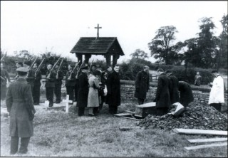 The funeral of Sgt B.N. Pratt at St. Swithun's, Long Bennington. 'Mike' Pratt was killed by a single bullet which entered his turret through the clear vision panel and struck him in the head