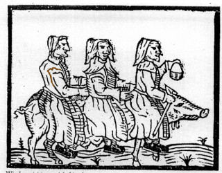 Northamptonshire Witches use a pig  familiar as transport to visit a sick friend.