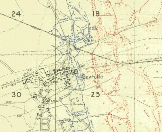 The battalion, known as the Leeds Pals, attacked due east from Gavrelle on 3rd May 1917. British trenches blue, German red.