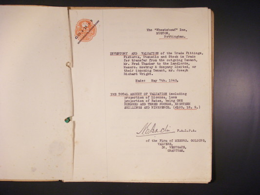 Wheatsheaf inventory, 1945, first page | Mr David Wright