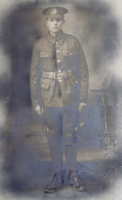 A studio portrait of Private Robinson before he departed to WW1. | Dick Robinson