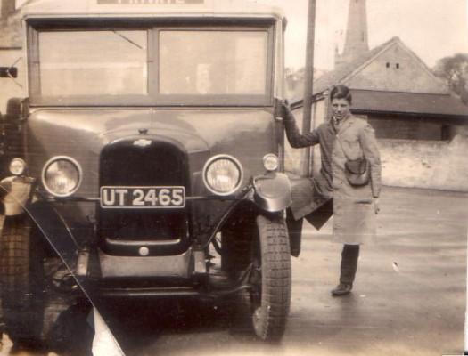 Randall's bus and Mr Randall, Judi Broadhurst's grandfather, in the Market Place, Bottesford | Judi Broadhurst
