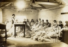 Bottesford lace workers in workshop on Queen Street
