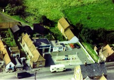 High St aerial view, shops and cottages, demolished in 1960s