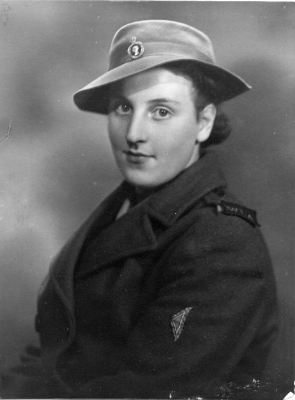A studio portrait photograph of Edna in her Land Army uniform during her posting at Bottesford during WW2, c.1940. | Contributed by Mrs Edna Taylor