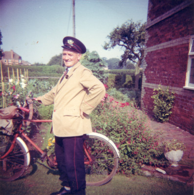 Cecil Briggs off to work in his postman's uniform and taking the bicycle, at his house on Easthorpe Lane | Collection of Mr Gerald Pedge