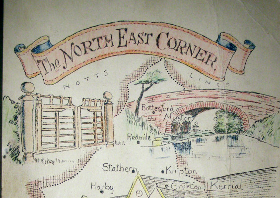 Cover page of The Northeast Corner by Lawrence Dewey: a picture of part of the cover page of the first of the two volumes. | Bottesford Local History Society