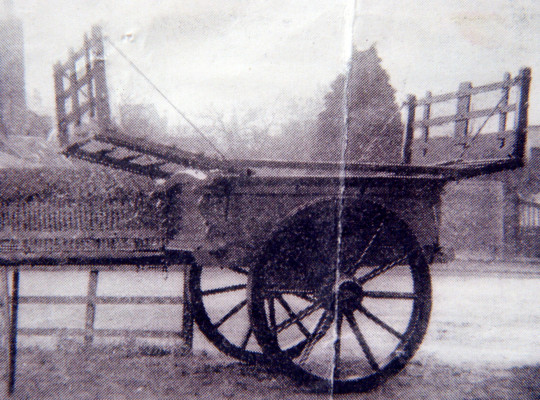 An old newspaper photo of a hay cart, possibly at the Roberts childhood home at Sutton by Granby, Nottinghamshire | photographer unknown