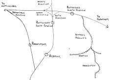 Sketch map of Bottesford railways, by Mr Alan Pizzey
