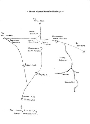 Railways in the Bottesford area - a sketch map compiled by Alan Pizzey | Created by Alan Pizzey