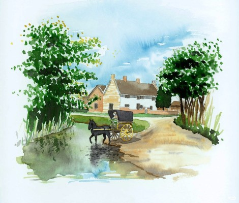 Carriage crossing the ford on Rectory Lane, Bottesford - artist's impression (Nottinghamshire County Council) | Nottinghamshire County Council graphics department