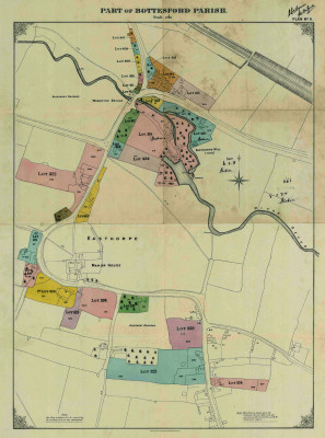 Map from the Duke of Rutland's sale catalogue of 1920, showing Easthorpe and the properties that were offered in this map of the parish   Copy of a paper map donated by Mr Mike Saunders