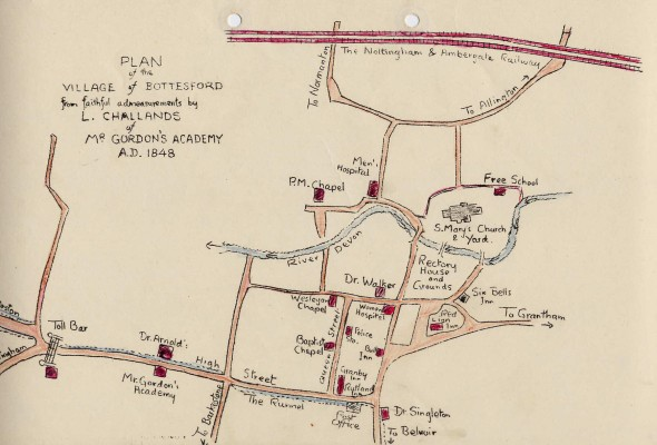 Sketch map of Bottesford, 1848, drawn by L. Challands, a pupil at a school run by a Mr Gordon | Mr Michael Saunders