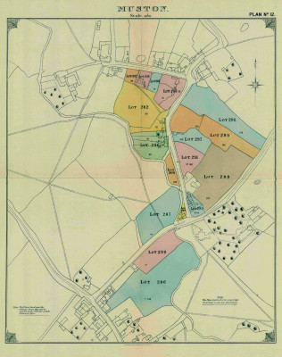 Map of Muston from the Duke's sale, 1920 - a digital scan of a paper map | From a paper map donated by Mr Mike Saunders