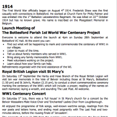 Village Voice No 73 WW1 Centenary | Bottesford Village Voice