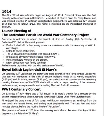 Village Voice No 73 WW1 Centenary | Bottesford Village Voice