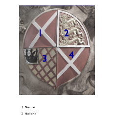Key to the heraldry on the shield of the 2nd Countess   Neil Fortey