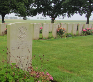 Pte. E. Hugh Holmes Headstone, Courcelette Cemetery, Somme, France
