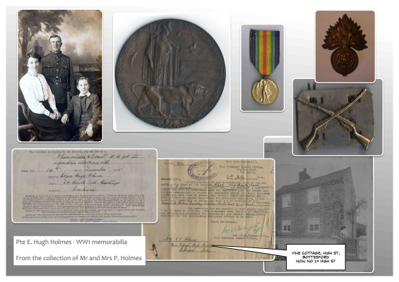 Pte E. Hugh Holmes - WW1 memorabilia From the collection of Mr and Mrs P. Holmes