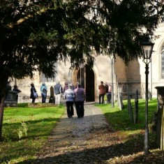 Muffled bell ringing at Bottesford Tower - Gathering to listen
