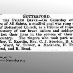 St Mary's Bottesford WW1 Muffled Peal (Grantham Journal 7:11:1914) | Grantham Journal 7:11:1914
