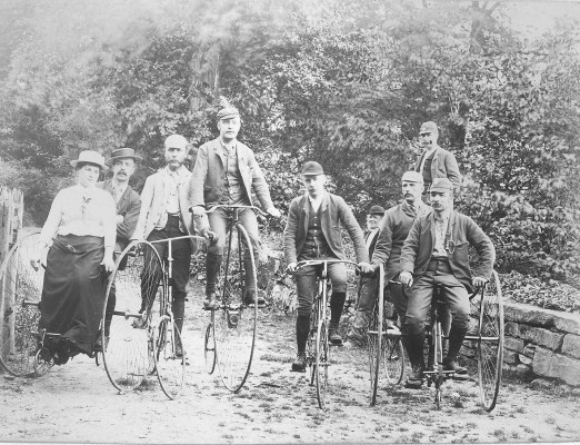 Nottingham Bicycle Club at unknown location, possibly near Belvoir Castle, late 19th Century | Reproduced with the kind permission of Nottingham Museums and Galleries - Album NCM 1973-42