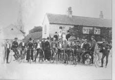Late 19th Century bicyclists at The Cross Bottesford (1)