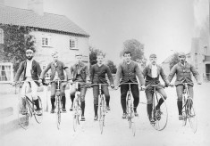 Late 19th Century bicyclists at The Cross Bottesford (3)