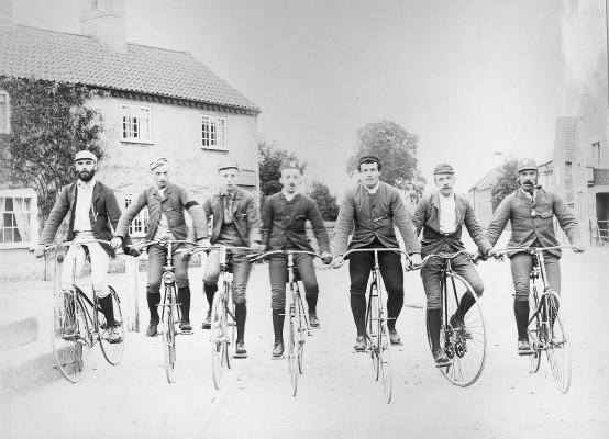 Late 19th Century bicyclists at The Cross Bottesford | Reproduced with the kind permission of Nottingham Museums and Galleries - Album NCM 1973-42