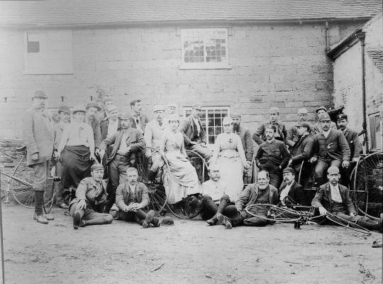 Nottingham Bicycle Club possibly outside buildings near the stables at Belvoir Castle - late 19th Century | Reproduced with the kind permission of Nottingham Museums and Galleries - Album NCM 1973-42