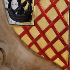 "This is the bottom-left quarter of the countess' shield. It is ""Neville Ancient"" and represents the family's founder, the Saxon Robert fitz Meldred, who married the Norman heiress Isabel de Neville. 