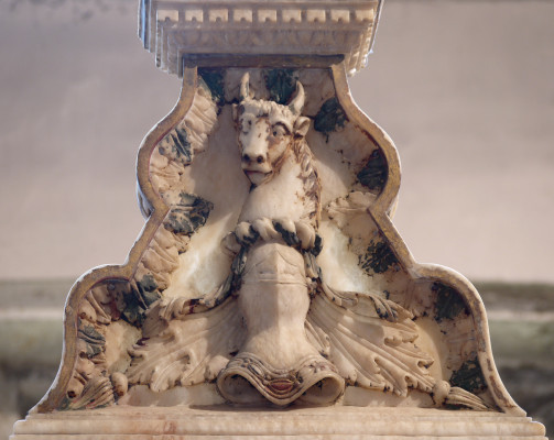 The bull crest above the shield of the 2nd Countess | Neil Fortey