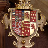 Heraldic shield in which the arms of John, 4th Earl, and Countess Elizabeth are quartered