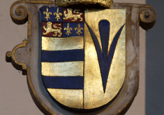 Shield with the blazons of Earl Roger Manners and Countess Elizabeth (Sidney)