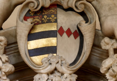 Shield with the arms of John, 8th Earl of Rutland, and Countess Frances (Montague)