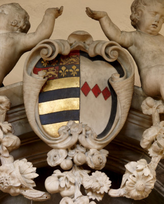 Baroque shield with the emblems of John, the 8th Earl, and Countess Frances (Montague) | Neil Fortey
