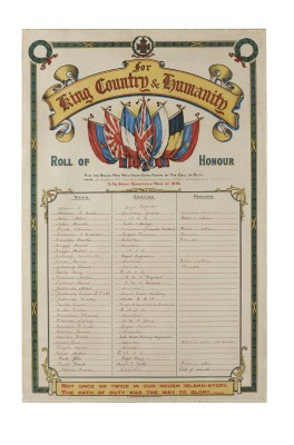 Restored and conserved Methodist Chapel Roll of Honour | To view details please click the magnification icon above on the right hand side and then move the cursor from outside the shadowed display frame onto the image. Please hover over the legend to expand
