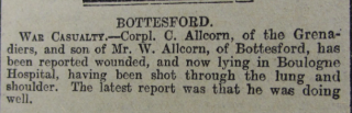 Grantham Journal 27th February 1915 - Casualty report Cpl Cecil Allcorn , Grenadier Guards | Courtesy of the Grantham Journal